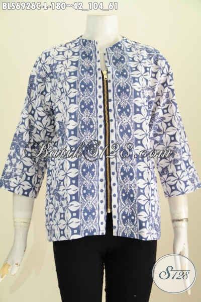 Blus Batik Modern Klasik, Baju Batik Keren Resleting Depan Proses Cap Pakai Kantong Paspol Kanan Kiri Untuk Penampilan Lebih Modis [BLS6926C-L]