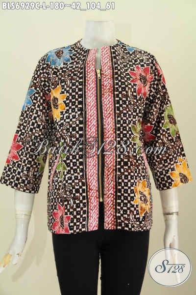 Foto Desain Baju Batik Wanita, Blus Batik Cap Buatan Solo Model Resleting Depan Kwalitas Bagus Dilengkapi kantong Paspol Kanan Kiri, Tampil Lebih Modis [BLS6929C-L]