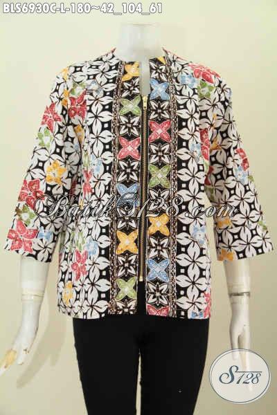 Foto Model Baju Batik Atasan Wanita Buatan Solo, Blus Resleting Depan Motif Keren Proses Cap, Bikin Wanita Terlihat Cantik Dan Stylish [BLS6930C-L]