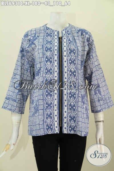 Foto Model Baju Batik Wanita Terbaru, Pakaian Batik Modis Dan Trendy Motif 2017 Proses Cap Dengan Kombinasi Warna Modern, Menunjang Penampilan Wanita Dewasa Terlihat Gaya [BLS6931C-XL]