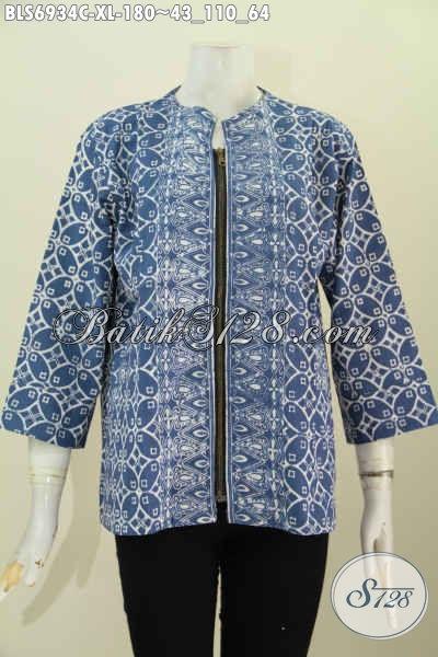 Gambar Baju Batik Atasan Wanita Modern, Pakaian Blus Modis Trendy Buatan Solo Untuk Wanita Dewasa Tampil Keren Dan Bergaya [BLS6934C-XL]