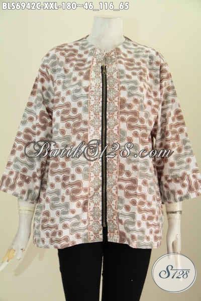 Gambar Baju Batik Wanita Modis, Produk Baju Batik Blus Modern Resleting Depan Di Lengkapi Kantong Paspol Kanan Kiri Tampil Lebih Bergaya [BLS6942C-XXL]