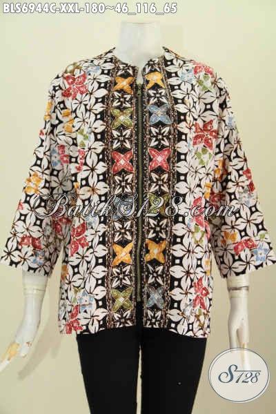 Gambar Desain Baju Kerja Batik Wanita, Busana Blus Trendy Wanita Gemuk Dengan Resleting Depan Motif Unik Proses Cap, Tampil Lebih Stylish Dan Mempesona [BLS6944C-XXL]