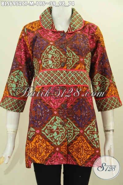 Jaul Baju Batik Atasan Wanita, Pakaian Batik Halus Motif Trend Masa Kini  Model Kerah Plisir Kan Polos, Tampil Makin Feminim [BLS6952CT-M]