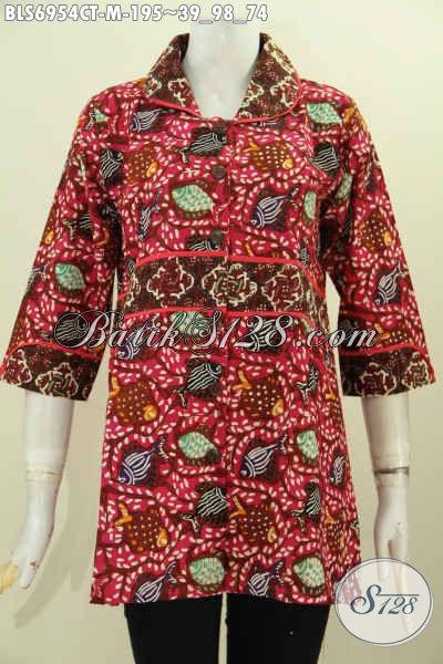 Online Shop Pakaian Batik, Sedia Baju Batik Wanita 2017, Hadir Dengan Model Krah Plisir Kain Polos Halus Motif Proses Cap Tulis Harga 195K [BLS6954CT-M]