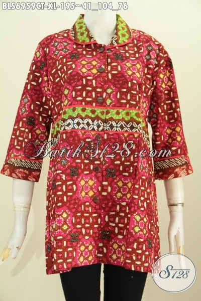 Batik Blus Untuk Kerja, Baju Batik Solo Modern Model Krah Plisir Yang Membuat Wanita Terlihat Cantik Mempesona, Size XL