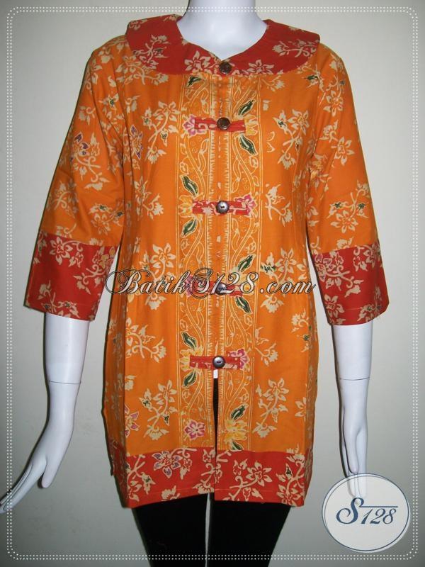 Baju Batik Wanita Atasan Warna Kuning Kombinasi Orange Baju Batik