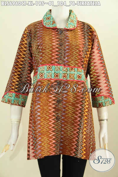 Baju Blus Batik Motif Tirtateja Proses Cap Tulis, Pakaian Batik Kwalitas Premium Bahan Adem Mode Krah Plisir Kain Polos Untuk Penampilan Makin Stylish [BLS6960CT-XL]