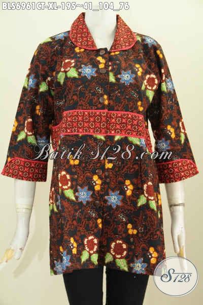 Pakaian Batik Modern Trend Mode 2019, Blus Batik Krah Plisir Kain Polos Kwalitas Istimewa Proses Cap Tulis, Cocok Untuk Seragam Kerja [BLS6961CT-XL]