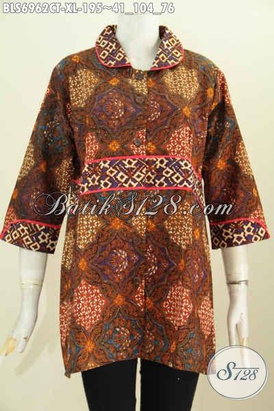 Jual Baju Batik Wanita Modern Murah Kwalitas Mewah, Blus Batik Krah Plisir Kain Polos Nan Istimewa Yang Bikin Wanita Cantik Mempesona [BLS6962CT-XL]