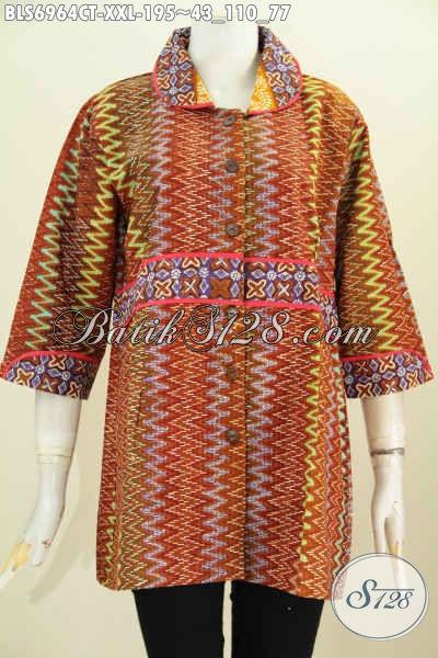 Sedia Baju Blus Batik Modern Spesial Untuk Wanita Gemuk Dengan Krah Plisir Nan Modis Dan Berkelas Harga Di Bawah 200 Ribu, Size XXL