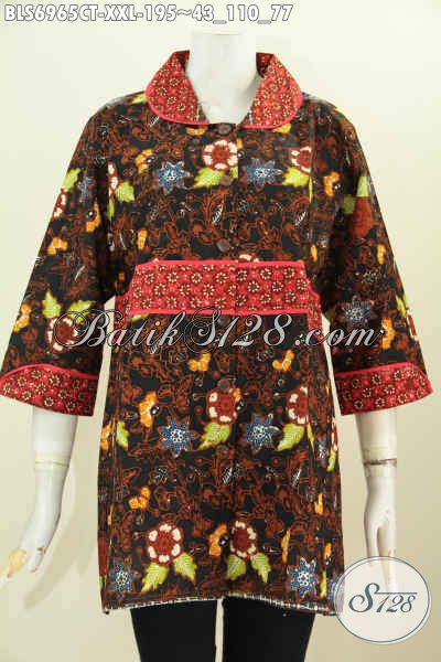 Blus Batik Jumbo 3L, Pakaian Batik Krah Plisir Istimewa Dengan Kain Polos Bahan Adem Proses Cap Tulis Harga 195K [BLS6965CT-XXL]