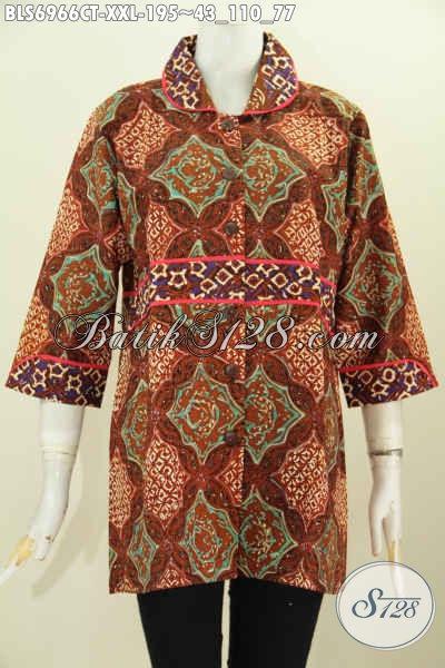 Pusat Baju Batik Solo Online, Sedia Blus Krah Plisir Kain Polos Halus Nan Istimewa Untuk Wanita Gemuk Tampil Beda Dan Mempesona [BLS6966CT-XXL]