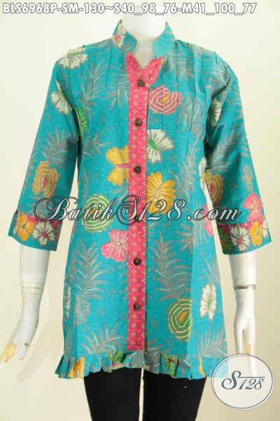 Batik Blus Wanita Muda, Pakaian Batik Trendy Untuk Kerja Dan Jalan-Jalan, Model Lengan 3/4 Ofneisel Rempel Penampilan Makin Modis [BLS6968P-M]