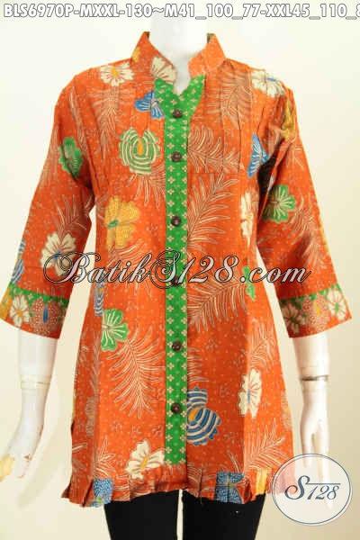 Baju Blus Warna Orange Pakaian Batik Keren Lengan 3 4