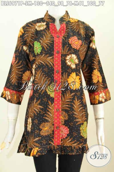 Toko Busana Batik Wanita Online, Sedia Blus Lengan 3/4 Ofneisel Rempel Untuk Pesta Dan Acara Santai Lainnya, Size S – M