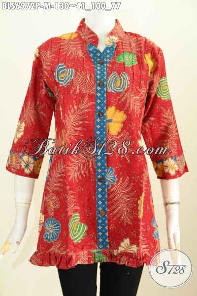Agen Baju Baju Batik Solo Online, Blus Batik Ofneisel Rempel Dengan Lengan 3/4 Warna Merah Motif Bunga Proses Printing Hanya 130K, Size M