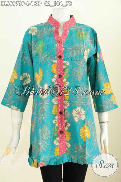 Baju Blus Size L, Pakaioan Batik Trendy Motif Trendy Model Ofneisel Rempel Dan Lengan 3/4, Tampil Modis Dan Gaya
