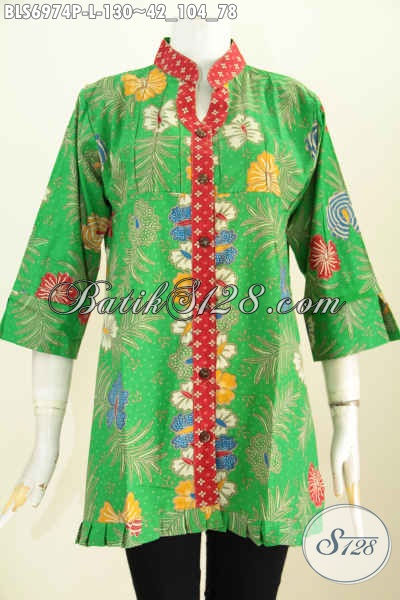Baju Batik Warna Hijau, Blus Batik Khas Jawa Tengah Untuk Wanita Kantoran Model Lengan 3/4 Ofneisel Rempel, Size L