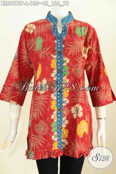 Macam Baju Batik Wanita Terbaru, Busana Batik Trendy Solo Lengan 3/4 Ofneisel Rempel Motif Keren Proses Printing Untuk Penampilan Lebih Berkelas [BLS6975P-L]