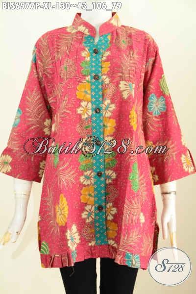 Pakaian Batik Solo Wanita Dewasa, Blus Keren Warna Pink Motif Bunga Printing Lengan 3/4 Ofneisel Rempel Hanya 130K [BLS6977P-XL]