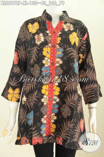 Model Baju Batik Wanita Terbaru 2017 Blus Lengan 3 4