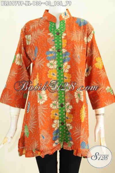 Model Baju Atasan Batik Wanita Kerja 2018 Blus Keren Warna Orange