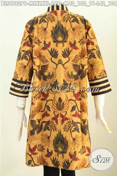 Model Baju Batik Atassan Wanita 2019, Blus Keren Dan Elegan Desain Istimewa Dengan Resleting Depan Berpadu Motif Slarak Proses Printing Harga 198K [BLS6982P-M , XL]