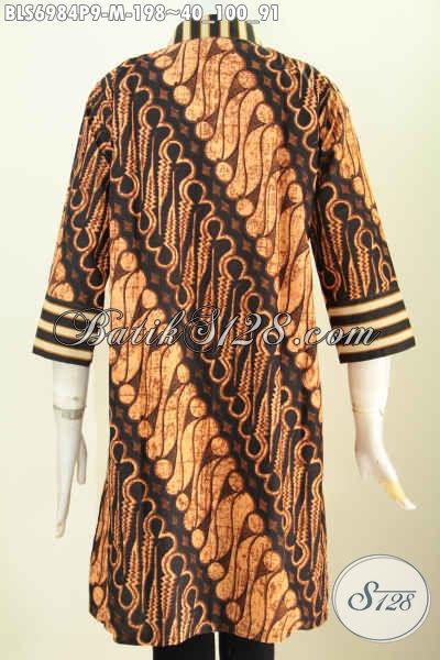Model Baju Batik Atasan Wanita Kantor, Batik Blus Motif Klasik Slarak Proses Printing Dengan Resleting Depan Bikin Penampilan Lebih Berkelas [BLS6984P-M]