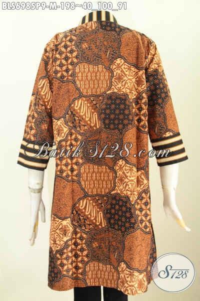 Blus Batik Klasik Slarak Elegan Model Resleting Depan, Baju Batik Terusan Wanita Masa Kini Proses Printing Premium Harga 198 Ribu [BLS6985P-M]