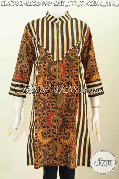 Batik Blus Motif Klasik Kombinasi Slarak, Baju Blus Terusan Kwalitas Premium Proses Printing Di Lengkapi Resleting Depan Harga 198K, Size M – XXL