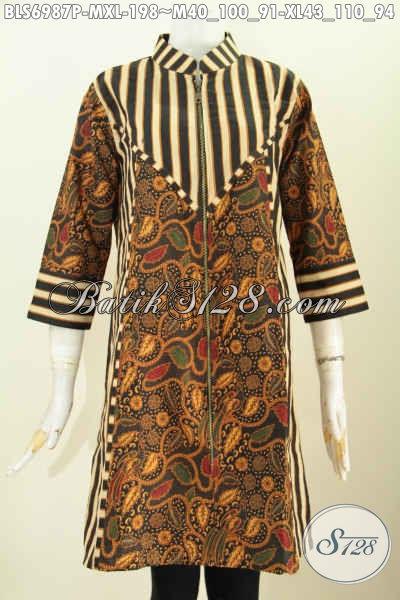 Baju Blus Elegan Dan Keren, Busana Batik Terusan Kwalitas Premium Proses Printing Pake Resleting Depan Dengan Paduan Motif Slarak [BLS6987P-M]