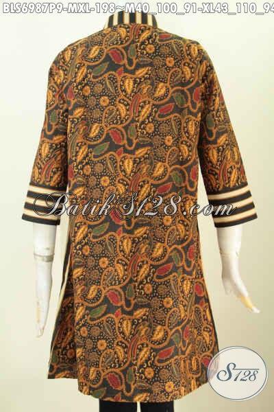 Batik Blus Elegan, Busana Batik Solo Desain Modern Motif Klasik Kwalitas Premium Pakai Resleting Depan, Bikin Penampilan Anggun Dan Cantik, Size M – XL