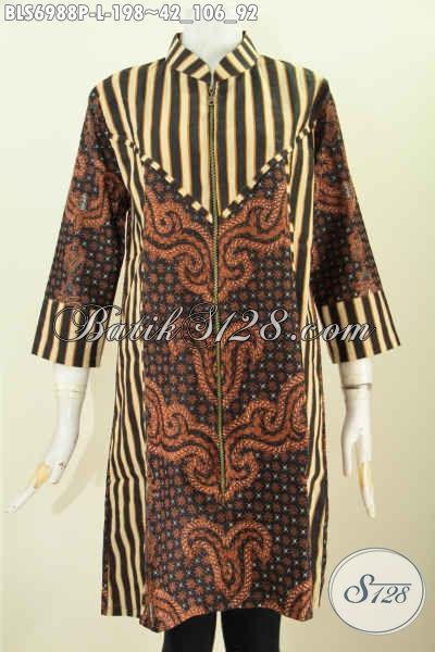 Batik Blus Terusan, Pakaian Batik Solo Jawa Tengah Motif Kombinasi Slarak Desain Resleting Depan Tampil Menawan, Size L