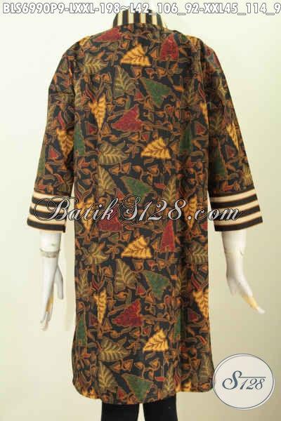 Aneka Baju Batik Kerja Terkini, Blus Resleting Depan Paduan Motif Slarak, Baju Batik Klasik Printing Mewah Untuk Penampilan Makin Sempurna [BLS6990P-XXL]