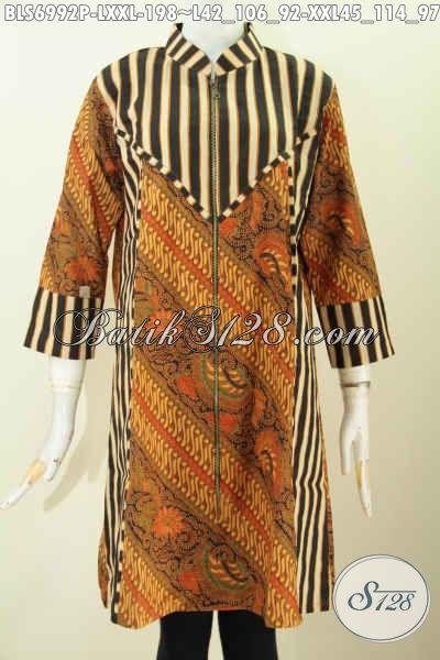Baju Blus Elegan Size L, Pakaian Batik Berkelas Kombinasi Motif Slarak Di Lengkapi Resleting Depan Tampil Lebih Istimewa, Size L