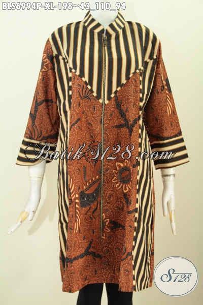Blus Batik Printing Modis Relseting Depan Dengan Paduan Motif Slarak, Istimewa Untuk Kerja, Size XL