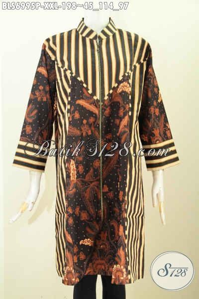 Batik Blus Mewah Desain Resleting Depan, Pakaian Batik Kerja Wanita Karir Paduan Motif Slarak Proses Printing Di Jual Online 198K [BLS6995P-XXL]
