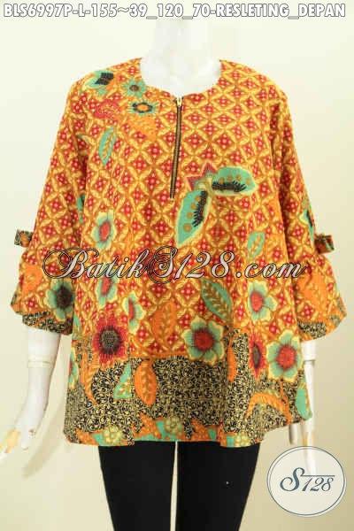 Model Baju Batik Blus Wanita Terbaru, Pakaian Batik Modis Mode A Simetris Pita Lengan, Tampil Lebih Stylish [BLS6997P-L]