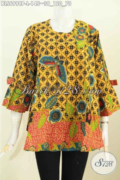 Model Baju Batik Busana Kerja Wanita Model A Simetris Lengan Pita, Tampil Makin Modis [BLS6998P-L]
