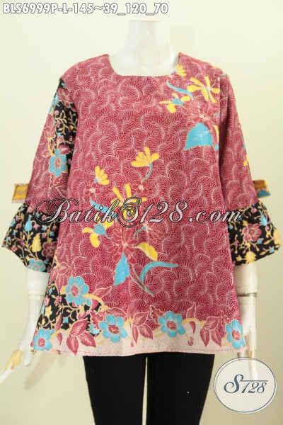 Batik Blus Printing A Simetris Lengan Pita, Baju Batik  Kwalitas Bagus Hanya 145K [BLS6999P-L]