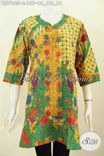 Baju Blus Kerah Paspol Keren Motif Bunga, Tampil Lebih Modis Dan Feminim Proses Printing 155K, Size L
