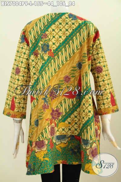 Batik Blus Meah Motif Bunga, Blus Batik Modern Kerah Paspol Bikin Penampilan Lebih Cantik, Size L