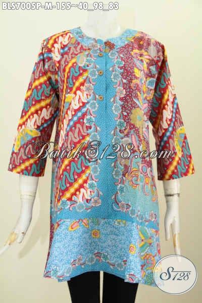 Jual Baju Batik Wanita 2017, Hadir Dengan Kerah Paspol Motif Mewah Proses Printing Hanya 155K, Size L
