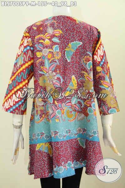 Model Baju Batik Kerja Wanita Desain Kerah Paspol Motif Keren Proses Printing, Wanita Karir Tampil Gaya Dan Mempesona [BLS7005P-M]