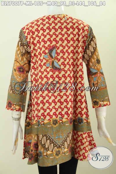 Trend Model Baju Batik Kerja Wanita 2017, Pakaian Batik Berkelas Harga Terjangkau Desain Kerah Paspol Tampil Lebih Bergaya [BLS7007P-M]