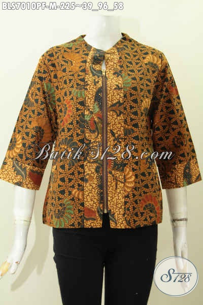 Batik Blus Printing Motif Klasik, Pakaian Batik Modern Resleting Depan, Pas Buat Acara Yang Istimewa, Size M Daleman Full Tricot Harga 225K