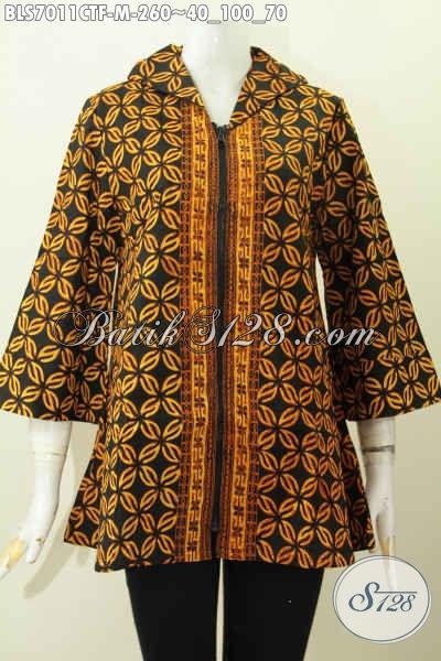 Model Baju Batik Wanita 2019, Blus Batik Klasik Nan Elegan Proses Cap Tulis Daleman Di Lengkapi Tricot Lebih Keren Dan Kekinian [BLS7011CTF-M]