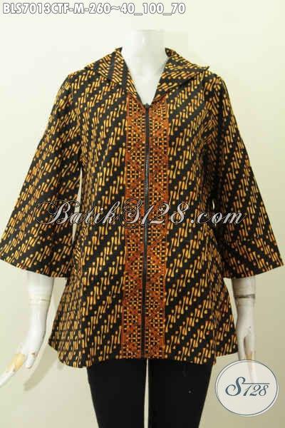 Aneka Busana Batik Elegan Berkelas Motif Klasik Buatan Solo, Baju Blus Resleting Depan Full Furing Tricot Harga 260 Ribu, Size M