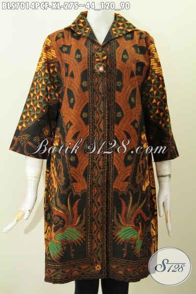 Pakaian Batik Blus Untuk Kerja Wanita Karir, Pakaian Batik Halus Istimewa Dari Solo Pakai Furing Motif Klasik Proses Printing Colet Harga 275K, Size XL